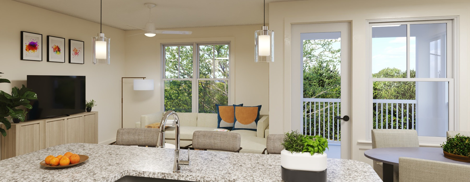 Open kitchen and living room with plenty of natural light.